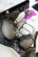 Free shipping Black sexy PU imitation leather push up side gathering 3 breasted gauze quality bra underwear set
