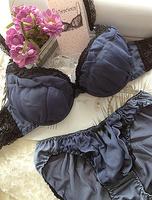 Free shipping Chiffon purplish blue lace luxurious personality japanese style series of young girl underwear bra set