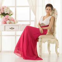 2013 new arrival bridal evening dress deep V-neck luxury rhinestone evening dress red double-shoulder long design formal dress