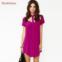 2014 New RICHCOCO chest hollow retro casual street fashion polo shirt chiffon dress