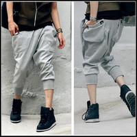 Male plus size cotton knee length men's capris trousers harem pants fashion harem pants male