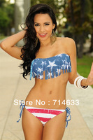 2012 NEW Hot  Sexy USA Flag Fringe Padded Push Up 2Pcs Boho Tassel Bandeau Bikini Swimwear S M L Free Shipping