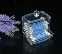 Free Shipping 9.5*7.5*9.8 cm Newest Crystal Plastic Cosmetic Medicine Cotton Storage Box, Wholesale Crystal Makeup Cotton Box