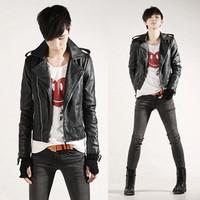 Short design motorcycle leather clothing slim male autumn leather clothing outerwear male leather jacket