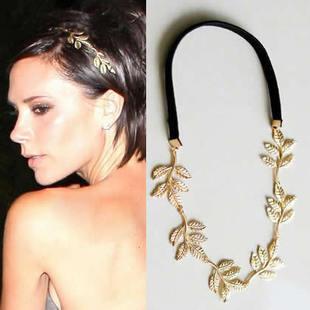 Free shipping (MIN order $10)Golden olive leaves hair elastic hair band line shape B0082