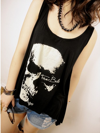 New arrival unique fashionable casual women's loose t-shirt casual skull tassel racerback sexy sleeveless vest(China (Mainland))