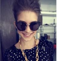 2013 NEW Free Shipping New Unisex Designer Semi-Rimless Super Round Circle Cat Eye Retro Sunglasses  CAT EYE Sunglass  cateye