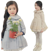 2013 new fashion korean girls gauze double-breasted lace trench coat Baby  jacket girls ruffle jacket with cuff sleeve 2colors