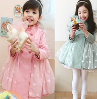 2013 new fashion korean noble princess love gauze double-breasted trench coat Baby dress toddler jacket