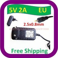 Free Shipping AC 100V-240V Converter Adapter DC 5V 2A Power Supply EU Plug DC 2.5mm x 0.7mm