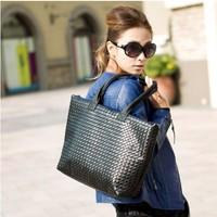 Korean WEAVING GRID Style,PU Leather Handbags Tote Messenger Shoulder Bag,Free shipping. BG2014