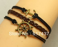 Free shipping!!6pcs Anchor Bracelet Helm Nautical Steering Wheel Antique Bronze Wax Cords and Imitation Leather Bracelet