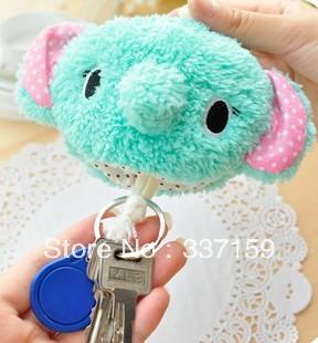 Free shipping 9x10 cm Cartoon plush elephant  plush bunny keychain ring bag chain birthday gifts for girls and kids