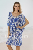 Chinese Porcelain Elegant Blue Flower Printing Sexy Bikini Dress Beachwear Bikini Cover Up Skirt Loose Comfortable