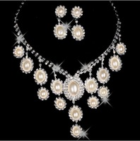 The bride accessories drop necklace earrings marriage accessories formal wedding dress accessories 2 piece set