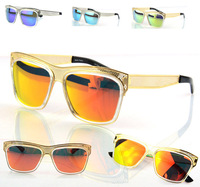 2013 Fashion Brand designer hollowed out metal sunglasses Men Women Colorful mirror lens Sun glasses Googles