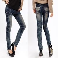Women's jeans lace rhinestones tight skinny pencil pants female small yards