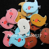 Free Shipping 200 Random Mixed Wood Sewing Buttons 2 Holes Birds Pattern Scrapbooking 23x26mm(W02354 F)