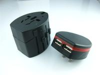 30pcs / lot Universal Plug Travel Adapter USB Universal Travel AC Power Adaptor Plug Adapter Two Usb Charger USB Charger