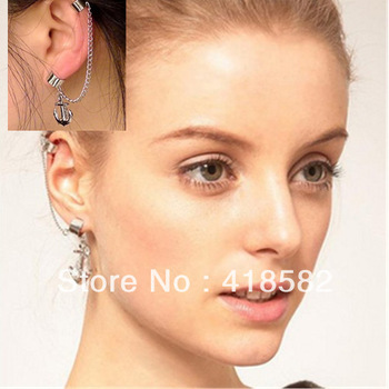 popular Chic Tassel Fringe Ear Cuff Earring NO PIERCING Gothic Punk Ship anchor Earrings Jewelry ear hanging personality