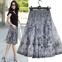2013 women's bust skirt bust skirt plus size print lace bohemia medium skirt  FREE SHIPPING