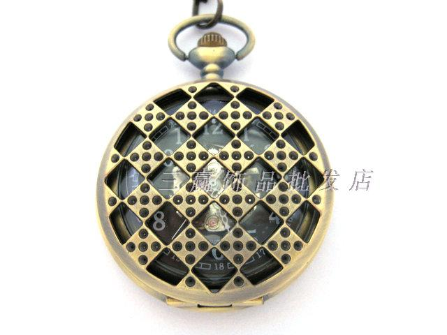 Vintage Large square grid cutout mechanical watch pocket watch camel table rahb219b(China (Mainland))