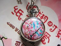 Fashionable casual enamel white steel pocket watch pocket watch necklace rahb243