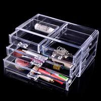 Free Shipping 24*15*11 cm Transparent Crystal Cosmetics Drawer Storage Organizer Box, Retail Makeup Jewelry Plastic Storage Box