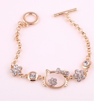 2 colors 18K Gold Plated hello kitty head imitation diamond flowers charm fashion bracelets Jewelry wholesale Free Shipping