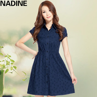 Nadine 2013 spring slim shirt turn-down collar 100% cotton embroidered belt puff sleeve one-piece dress