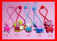 New Arrival Cute Girls Peppa Pig Hairband Kids George Pig Hair Rope Hairpin Baby Hair Clip Free shipping