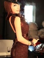 Free Shipping Fashion Hot Sexy Lace Backless Dress Women's Dress Brown 1767