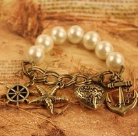 Fashion pearl elastic rope bracelet Women jewelry accessories retro finishing small accessories