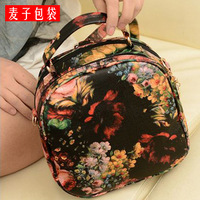 Minnith bag 2013 preppy style oil painting peony backpack colored drawing flower fashion women's handbag bag