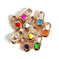 100 Enamel Charms in Random Mixture Colors, Padlock with Enamel Heart