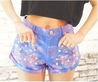Fashion multi color stars rivet short pants sexy ultra low waist tassel tie dyeing hole denim jeans shorts for women  MBMS006