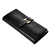 2013 women's handbag crocodile pattern genuine leather long design black clutch women's wallet bags