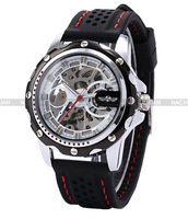 2013 Hot-selling  winner  automatic mechanical  skeleton rubber strap quality watch with box gift