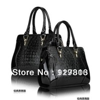 Free shipping Fashion black PU women's handbag patent leather bag mother bag women's handbag bags