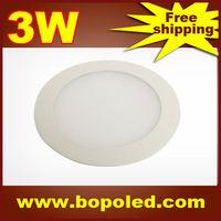 Free shipping BOPO Ultra-thin high-brightness LED Panel light SMD2835 110~265V Circular White aluminum 3W IP30 Ceiling light