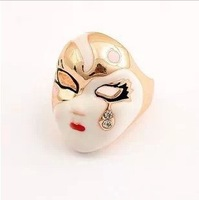 Hot sell,Wholesale Personality punk style jewelry, vintage enchanting mask, tear Facebook ring