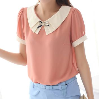 Hot!Free shipping cheap M1-3-4 women's summer 2013 cool chiffon shirt short-sleeve top female summer basic shirt brooch