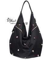 2013 ! fashion punk rivet bag nylon leather type shoulder bag dumplings women's cross-body handbag