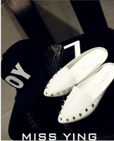 FREE SHIPPING   white shoes single shoes fashion vintage flat female Rivet shoes flats Slippers no box