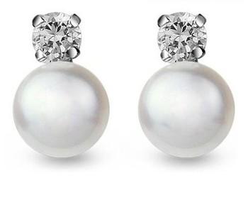 free shipping zircon inset 925 silver 8-9mm AAA grade pearl stud earrings for women fashion earring wholesale