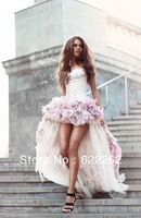 Free Shipping A Line Sweetheart Short Front Long Back With Flowers Beads Pink Wedding Dress 2013 wedding gown Bridal Dresses