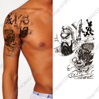 2014 Rushed Henna Tatuagem Free Shipping Waterproof Tattoo Stickers Ultralarge Men Big Guan Gong Drawing Design New Fake Ink