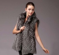 Free Shipping 2013  Real Natural Silver Vest  Fox Fur medium-long With Hood For womens Trimming Fur Waistcoat Gilet Vest