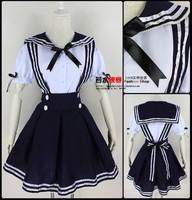 Hot-selling lolita school wear supplement high waist short skirt suspenders set sailor suit princess dress