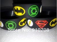 2014   superhero  silicone  bracelet   New Superman, Batman, Green Lantern, The flash wristband, new  band    free shipping